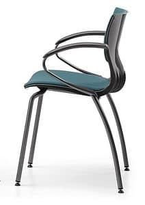 WEBBY 339 S, Nylon and metal chair, upholstered seat, for conference