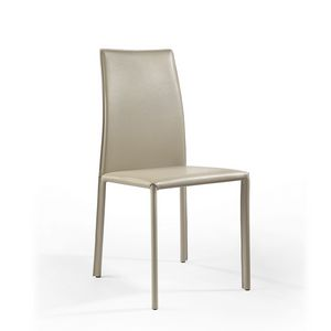 Agata high, Modern chair with high back, covered with leather