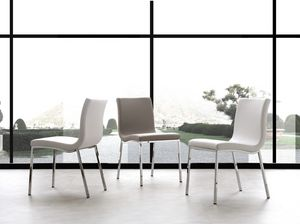 Art. 209 Onda, Metal chair, upholstered in soft leather