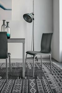 GLAMOUR SE135, Chair with leather shell for dining room and bar