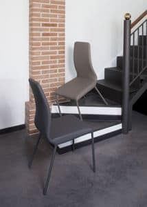 Jacky, Chair with metal frame, covered with coated fabric