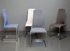 Mery, Chair with sled base and upholstered seat, fabirc covering