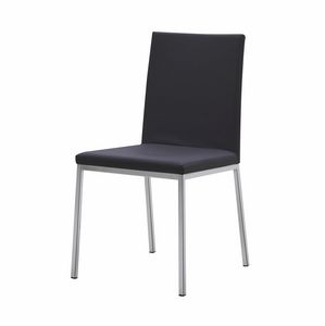 Mira CE, Modern chair in steel, seat and back covered in leather