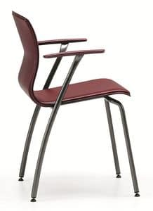 WEBTOP 388, Chair in metal and leather, suitable for bars and offices