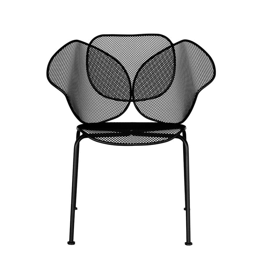 Outdoor metal chair stackable suited for bars and icecream parlour