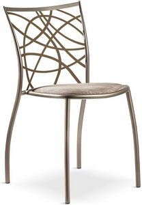 Julie chair with padded seat, Stackable metal chair