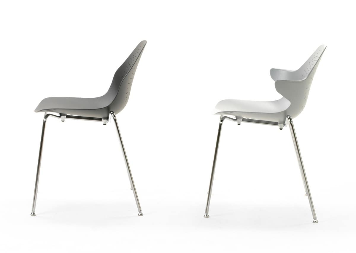 Stackable Metal Chair With Jointed Feet With Felt IDFdesign