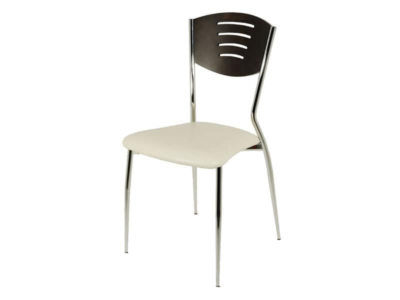 SE 001, Linear dining chair, beech wood back, for Kitchen