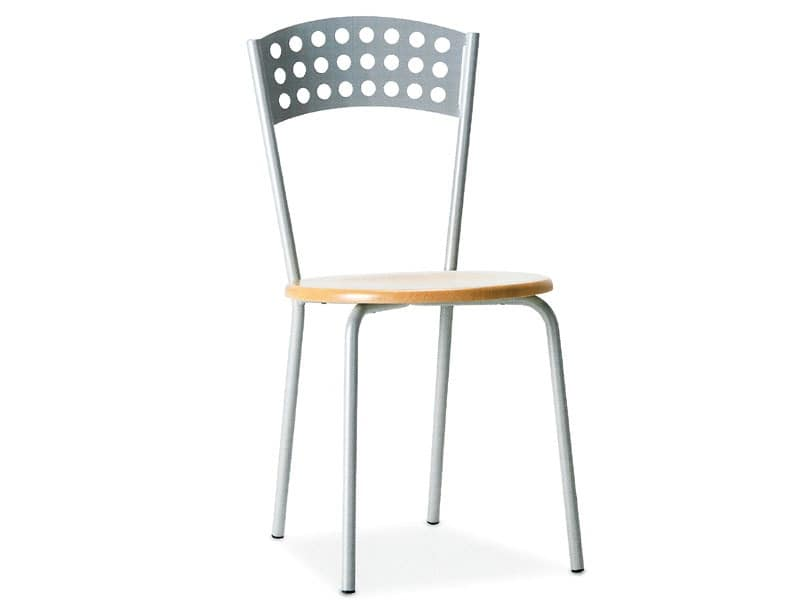 CINDY, Metal chair with wooden seat