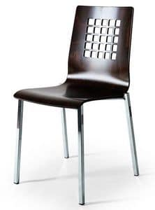 044Q, Chair with metal base, shell in beech with perforated back
