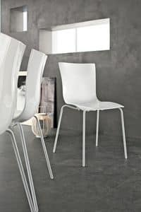 ARIA EASY, Modern stacking chair, in metal plastic, for kitchen and bar
