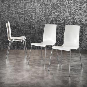 Art. 044 Kris, White polypropylene chair, chromed metal legs