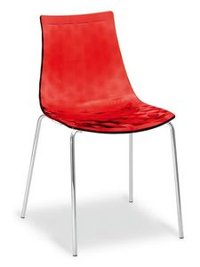Happy, Modern chair with metal legs and shell in SAN