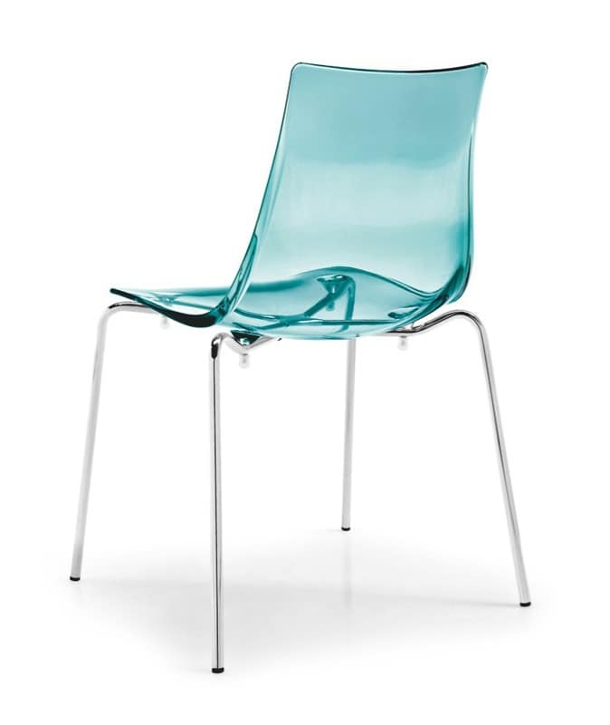Jazz, Metal Chair With Plastic Transparent Seat