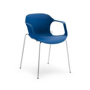 Jim 853, Stackable chair with armrests, pvc shell