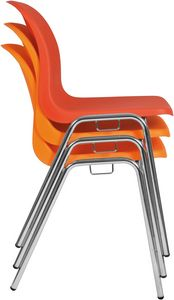 Vera, Stackable chair, space-saving, with polypropylene shell