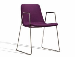 Ics 506VBZ, Stackable metal chair with armrests