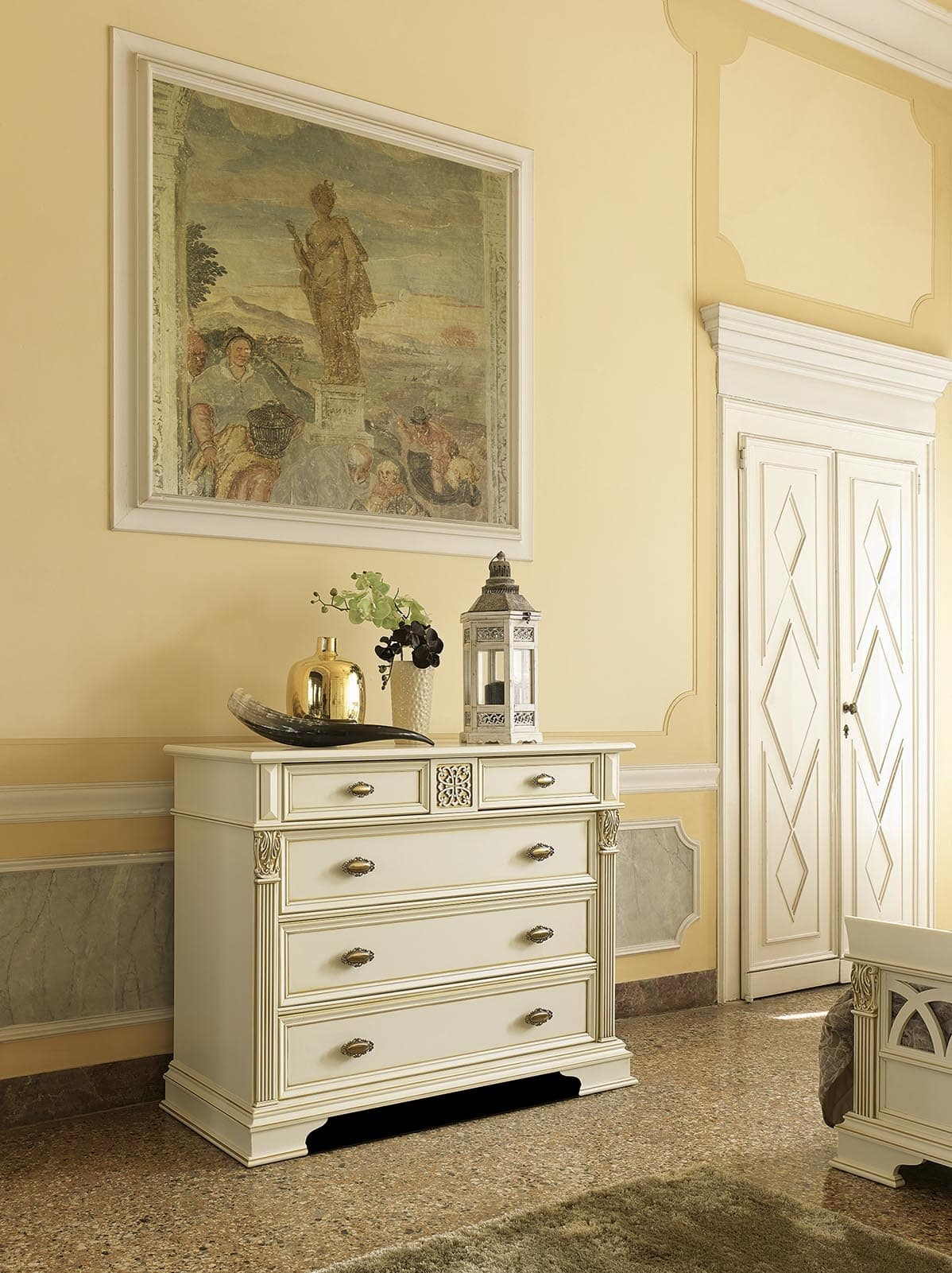Art. 44528 Puccini, Chest of drawers with 5 drawers, in luxury classic style