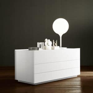 Linea dresser, Design chest of drawers, with 3 drawers, for bedrooms