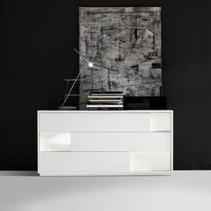 Moody dresser, Design chest of drawers, with 3 drawers, for bedrooms