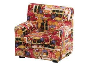 LILLI, Small children's armchair, upholstered with colorful fabric, for kid bedroom and nursery