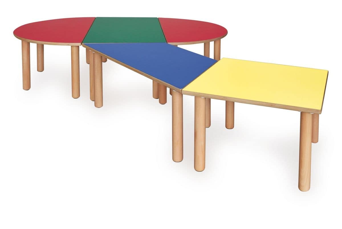 Modular table for children made of wood different colors for Childrens table