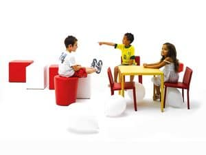 Junior, Small table, covered with leather, for children's canteen