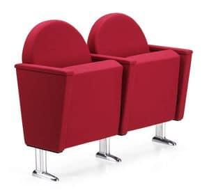 ARAN 584, Armchair for theaters and cinemas, chromed feet
