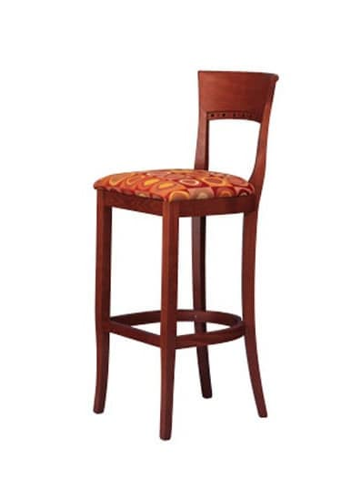 442, Traditional stool in beech, upholstered, for Bistro