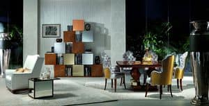 LB18-A Mondrian, Modular furniture in oak, for classic living rooms