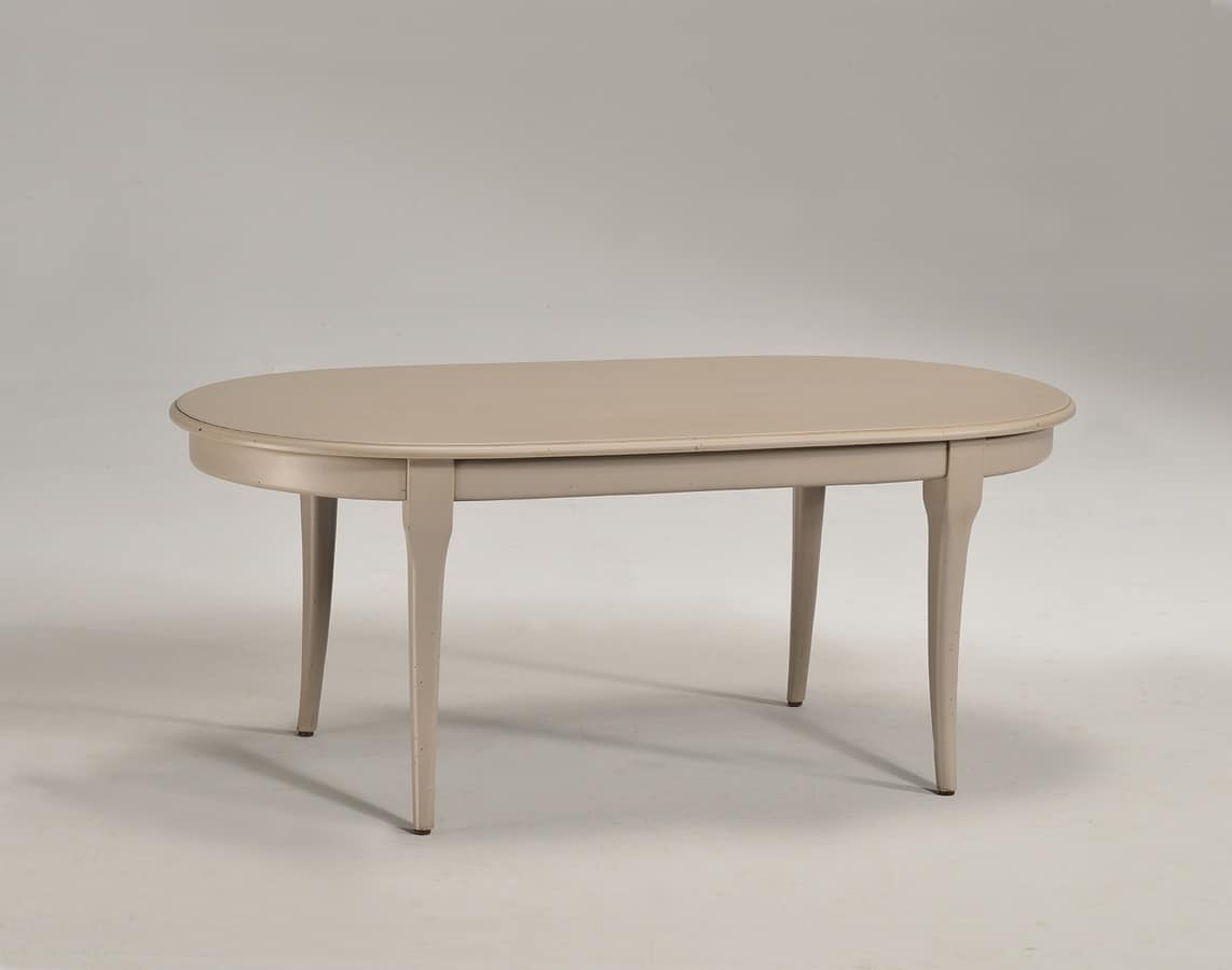 Oval Coffee Table In Solid Wood Classic Style Idfdesign