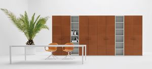 ALA CUOIO, Wardrobe covered in leather, with hinged doors