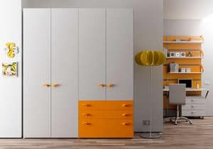 Armadio Basic AE 16, Wardrobe for offices and hotels, in ash veined