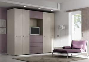 Custom wardrobe AM 16, Wardrobe with 4 doors, drawers and space for TV