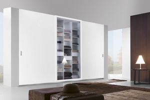 Telaio sliding wardrobe, Sliding closet with doors in wood, glass and mirror