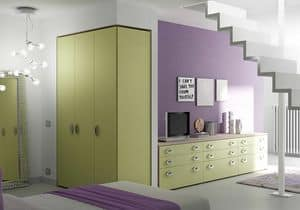 Wardrobe Basic AE 15, Wardrobe with 3 hinged doors, in simple style