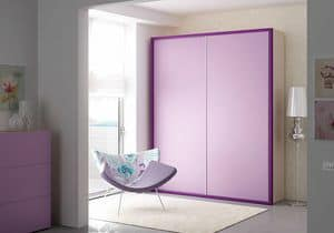 Wardrobe Frame AF 17, Wardrobe with 2 sliding doors, with integrated handle