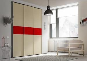 Wardrobe Slider AS 20, Wardrobe with colorful stripes on sliding doors
