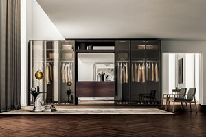 Wardrobe with transparent and hinged doors, Design cabinet, with hinged doors in tinted glass