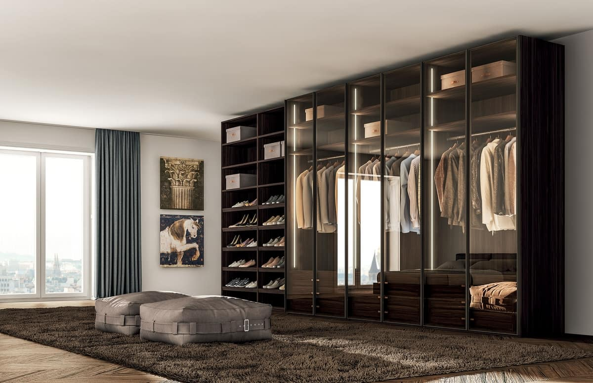 Design Cabinet With Hinged Doors In Tinted Glass Idfdesign