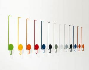 Sun, Colorful clothes hangers, in lacquered metal, for modern environments