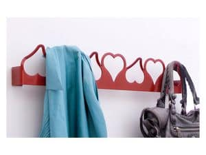 Valentina coat hook, Metal wall hanger, heart-shaped, modern style