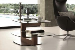 Art. 844 Tolomeo, Modern coffee table in glass and walnut, with swivel top