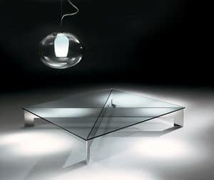 Bridge 1, Steel coffee table with clear glass top