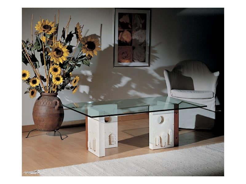 Celeste, Coffee table with stone structure, modern style