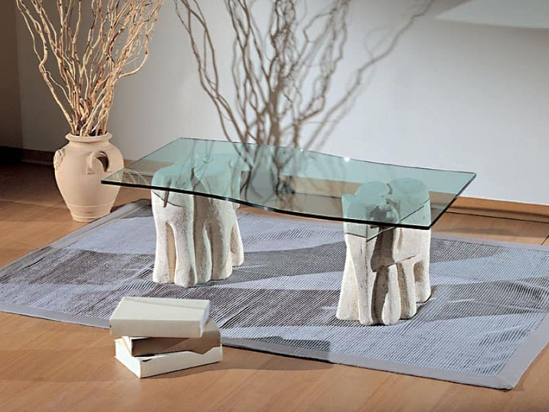 Elefantini, Coffee table for living rooms, made of stone and glass
