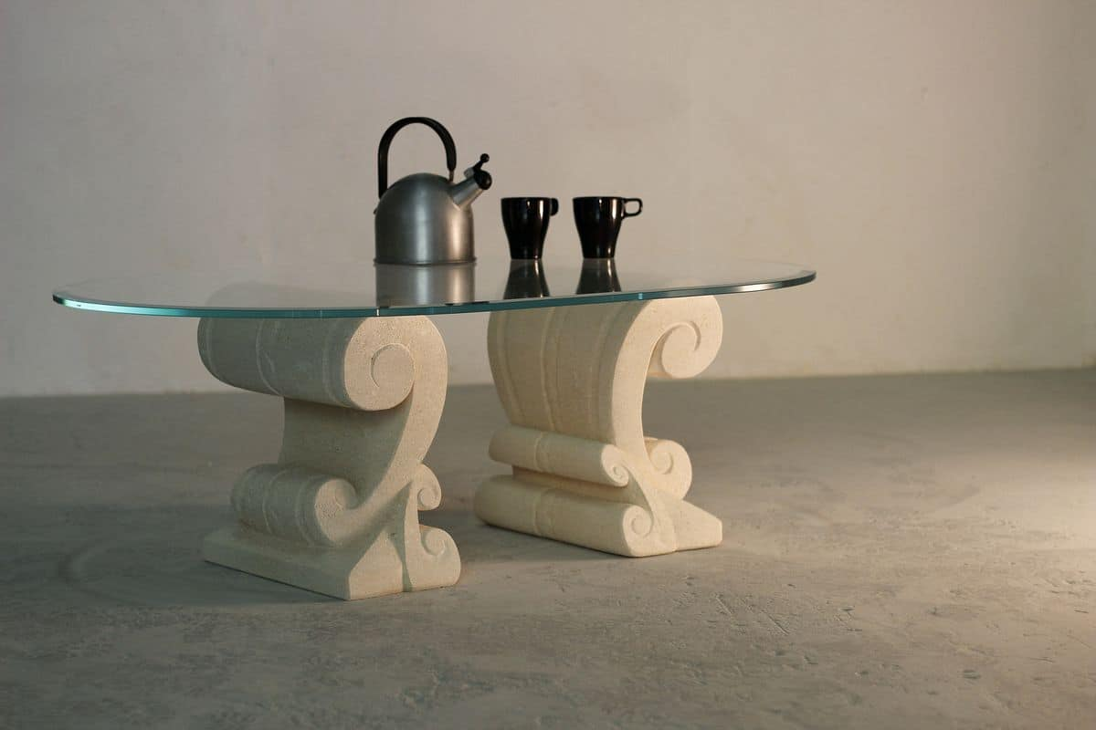 Eliseo, Coffee table with double base in stone carved by hand
