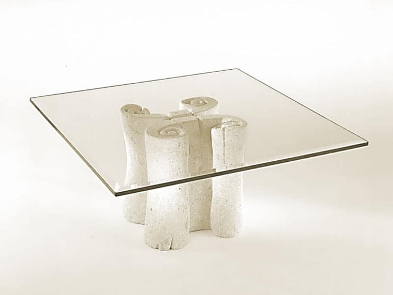 Pergamena, Coffee table with square top in glass, stone base