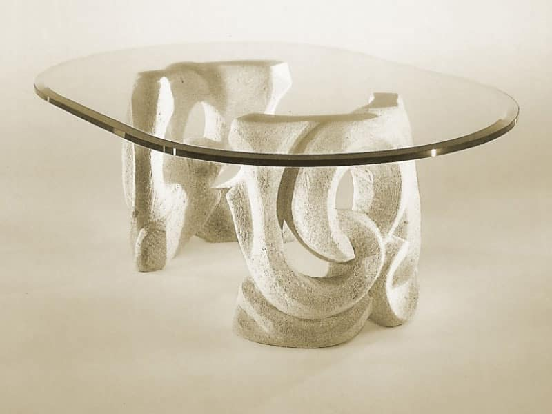 Prince, Table with base in stone and top in glass