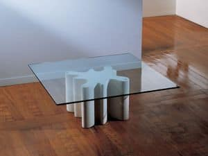Splash, Coffee table with base made of stone, top in glass
